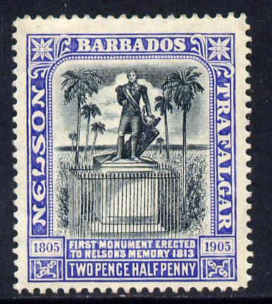 Barbados 1907 Nelson Centenary MCA 2.5d black & blue mounted mint SG 162