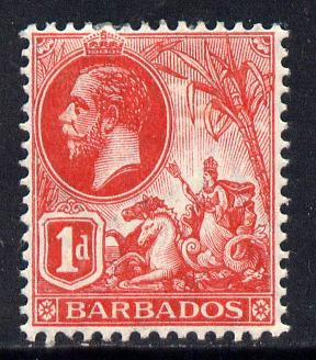 Barbados 1912-16 KG5 MCA 1d red mounted mint SG 172