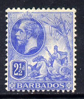 Barbados 1912-16 KG5 MCA 2.5d bright blue mounted mint SG 174