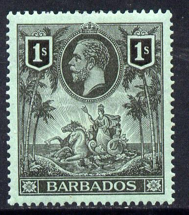 Barbados 1912-16 KG5 MCA 1s black on green mounted mint SG 178