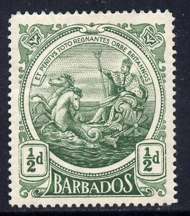 Barbados 1916-19 Large Britannia MCA 1/2d green mounted mint SG 182a