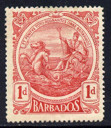 Barbados 1916-19 Large Britannia MCA 1d carmine mounted mint SG 183a