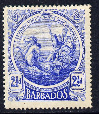Barbados 1916-19 Large Britannia MCA 2.5d ultramarine mounted mint SG 185