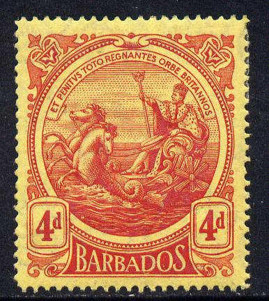 Barbados 1916-19 Large Britannia MCA 4d red on yellow mounted mint SG 187