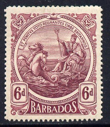 Barbados 1916-19 Large Britannia MCA 6d purple mounted mint SG 188