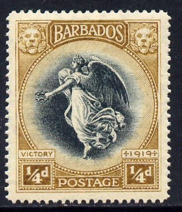Barbados 1920-21 Victory MCA 1/4d black & brown mounted mint SG 201