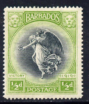 Barbados 1920-21 Victory MCA 1/2d black & yellow-green mounted mint SG 202
