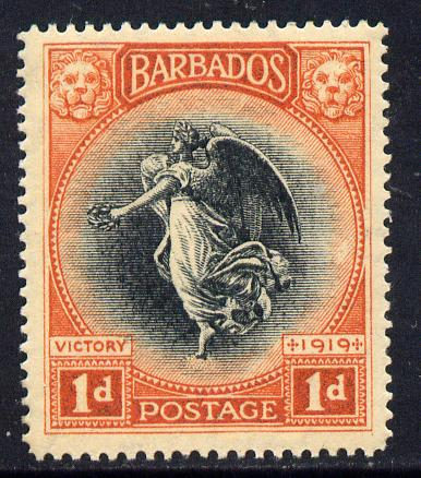Barbados 1920-21 Victory MCA 1d black & vermilion mounted mint SG 203