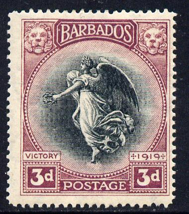 Barbados 1920-21 Victory MCA 3d black & purple mounted mint SG 206