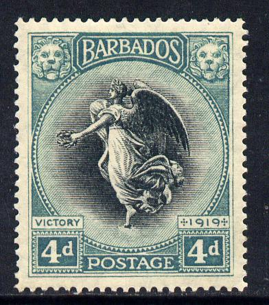 Barbados 1920-21 Victory MCA 4d black & blue-green mounted mint SG 207