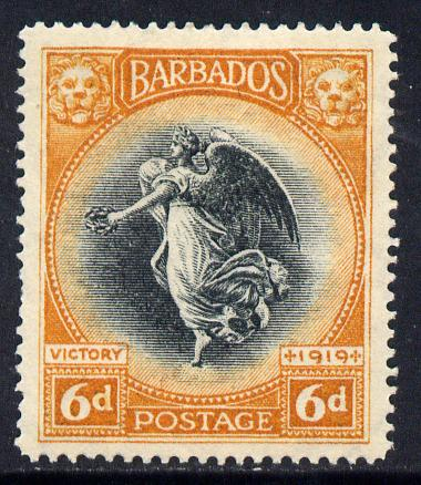 Barbados 1920-21 Victory MCA 6d black & orange mounted mint SG 208