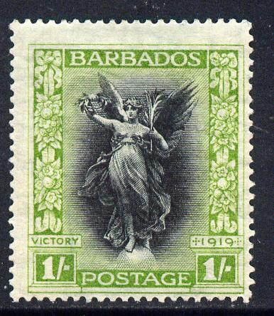 Barbados 1920-21 Victory MCA 1s black & bright green mounted mint SG 209