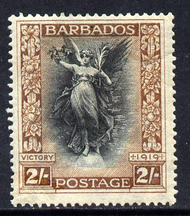 Barbados 1920-21 Victory MCA 2s black & brown mounted mint SG 210
