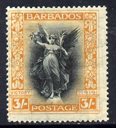 Barbados 1920-21 Victory MCA 3s black & dull orange mounted mint SG 211