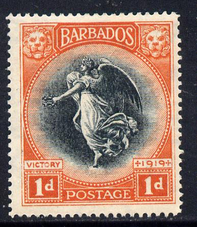 Barbados 1920-21 Victory SCript CA 1d black & vermilion mounted mint SG 212