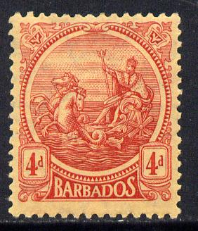 Barbados 1921-24 Britannia MCA 4d red on pale yellow mounted mint SG 214