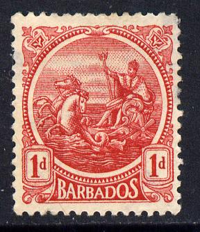 Barbados 1921-24 Britannia Script CA 1d red mounted mint SG 220, stamps on britannia