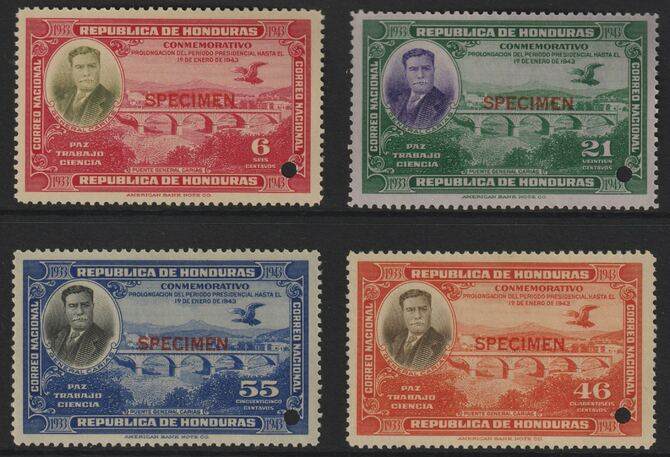 Honduras 1937 Re-election of President (Carias Bridge) set of 4 unmounted mint optd SPECIMEN each with security punch hole (ex ABN Co archives) SG 376-79
