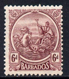 Barbados 1921-24 Britannia Script CA 6d reddish-purple mounted mint SG 225