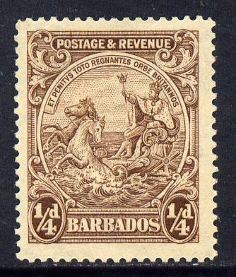 Barbados 1925-35 Britannia Script CA 1/4d brown mounted mint SG 229