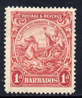 Barbados 1925-35 Britannia Script CA 1d scarlet P14 mounted mint SG 231