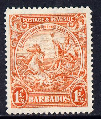 Barbados 1925-35 Britannia Script CA 1.5d orange P14 mounted mint SG 231c