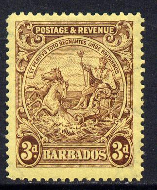 Barbados 1925-35 Britannia Script CA 3d purple on pale yellow mounted mint SG 234