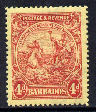 Barbados 1925-35 Britannia Script CA 4d red on pale yellow mounted mint SG 235
