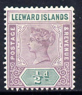 Leeward Islands 1890 QV Crown CA 1/2d dull mauve & green mounted mint SG 1