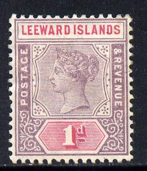 Leeward Islands 1890 QV Crown CA 1d dull mauve & rose mounted mint SG 2