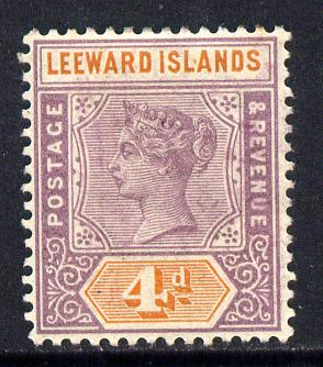 Leeward Islands 1890 QV Crown CA 4d dull mauve & orange mounted mint SG 4