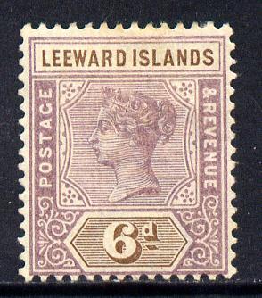 Leeward Islands 1890 QV Crown CA 6d dull mauve & brown mounted mint SG 5
