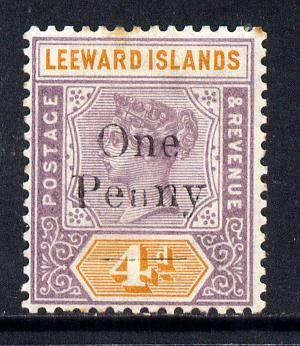Leeward Islands 1902 QV Surcharged 1d on 4d mounted mint SG 17