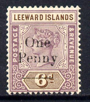 Leeward Islands 1902 QV Surcharged 1d on 6d mounted mint SG 18