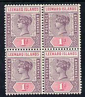 Leeward Islands 1890 QV Crown CA 1d dull mauve & rose block of 4 mounted mint SG 2