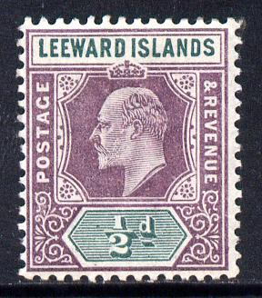 Leeward Islands 1902 KE7 Crown CA 1/2d dull purple & green mounted mint SG 20