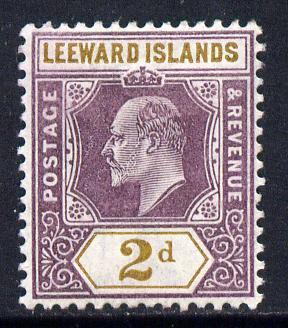 Leeward Islands 1902 KE7 Crown CA 2d dull purple & ochre mounted mint SG 22