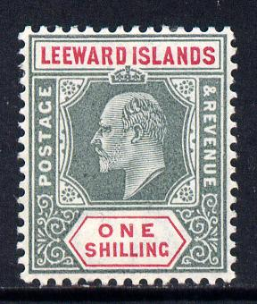 Leeward Islands 1902 KE7 Crown CA 1s green & carmine mounted mint SG 26