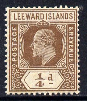 Leeward Islands 1907-11 KE7 MCA 1/4d brown mounted mint SG 36