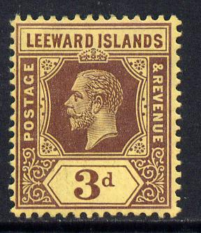 Leeward Islands 1912-22 KG5 MCA 3d purple on yellow Die I mounted mint SG 51
