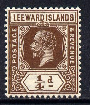 Leeward Islands 1921-32 KG5 Script CA 1/4d brown Die II mounted mint SG 58