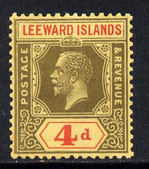 Leeward Islands 1921-32 KG5 Script CA 4d black & red on yellow Die II unmounted mint but light overall toning SG 70