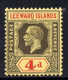 Leeward Islands 1921-32 KG5 Script CA 4d black & red on yellow Die II mounted mint SG 70
