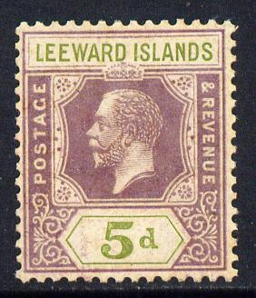 Leeward Islands 1921-32 KG5 Script CA 5d dull purple & olive-green Die II unmounted mint but light overall toning SG 71