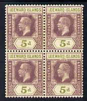 Leeward Islands 1921-32 KG5 Script CA 5d dull purple & olive-green Die II block of 4 unmounted mint but light overall toning SG 71, stamps on , stamps on  kg5 , stamps on