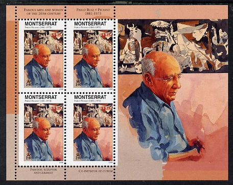 Montserrat 1998 Famous People of the 20th Century - Pablo Picasso perf sheetlet containing 4 vals unmounted mint as SG 1066a