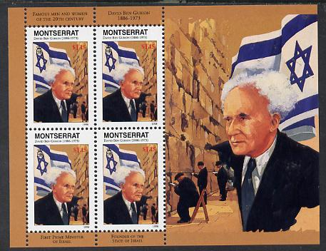 Montserrat 1998 Famous People of the 20th Century - David Ben Gurion (Israel) perf sheetlet containing 4 vals unmounted mint as SG 1068a