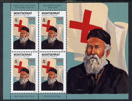 Montserrat 1998 Famous People of the 20th Century - Henri Dunant (Red Cross) perf sheetlet containing 4 vals unmounted mint as SG 1069a