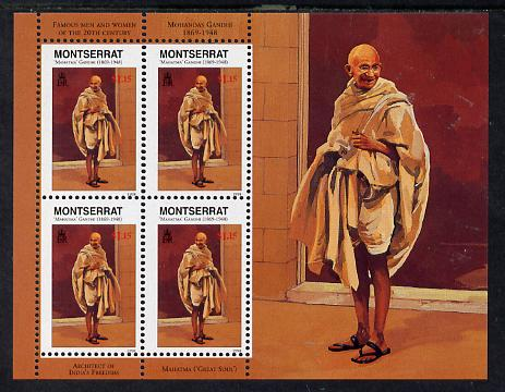 Montserrat 1998 Famous People of the 20th Century - Mahatma Gandhi (India) perf sheetlet containing 4 vals unmounted mint as SG 1071a