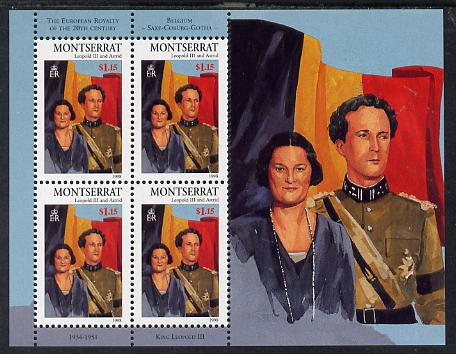 Montserrat 1998 Famous People of the 20th Century - King Leopold & Queen Astrid of Belgium perf sheetlet containing 4 vals unmounted mint as SG 1072a